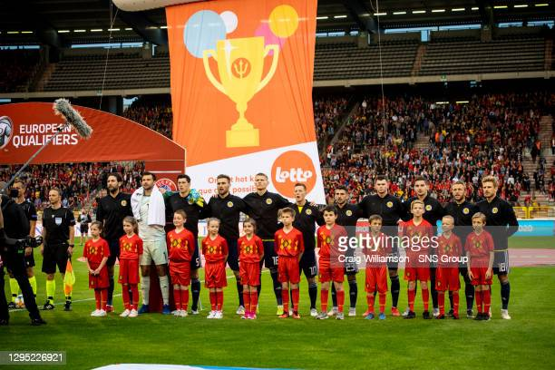 Vs SCOTLAND.KING BAUDOUIN STADIUM - BRUSSELS .Scotland line up for the national anthems.