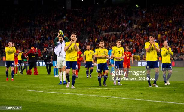 Vs SCOTLAND.KING BAUDOUIN STADIUM - BRUSSELS .Scotland Players applaud the travelling support at Full Time.