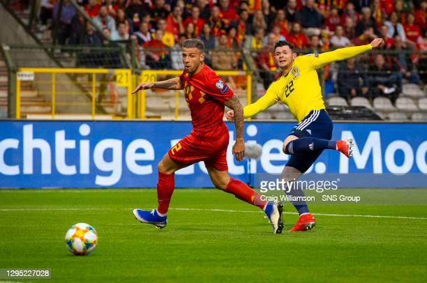 Vs SCOTLAND.KING BAUDOUIN STADIUM - BRUSSELS .Scotland's Oliver Burke has a chance go just wide in the first half