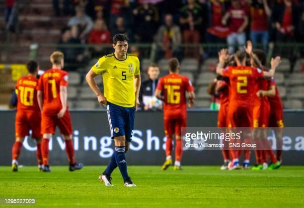 Vs SCOTLAND.KING BAUDOUIN STADIUM - BRUSSELS .Scotland's Scott McKenna is dejected after Belgium make it 2-0.
