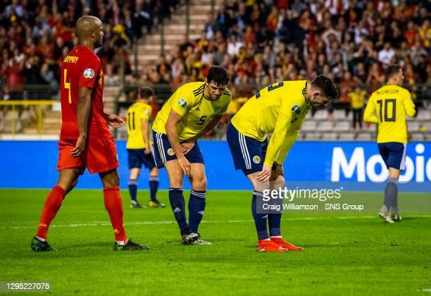 Vs SCOTLAND.KING BAUDOUIN STADIUM - BRUSSELS .Scotland's Scott McKenna is dejected after missing a second half chance.