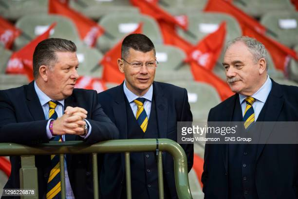 Vs SCOTLAND.KING BAUDOUIN STADIUM - BRUSSELS .Scotland's SFA Vice Chairman Rod Petrie and SPFL Chief Executive Neil Doncaster.