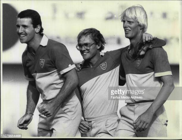 NSW Vs South Australia Left to Right Seabrook Wellham and Marks after game***** Seabrook left skipper Dirk Wellham and Phil Marks showed jubilation...