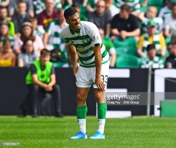 Vs ST JOHSNTONE.CELTIC PARK - GLASGOW.Celtic's Hatem Abd Elhamed holds his thigh before going off.