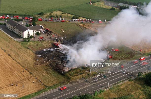 vue aérienne prise le 25 juillet 2000 à Gonesse de l'endroit où le Concorde d'Air France s'est écrasé et aprèsmidi peu après le décollage de...