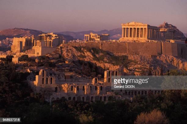 Vue de l'Acropole d'Athènes en Grèce en 1989