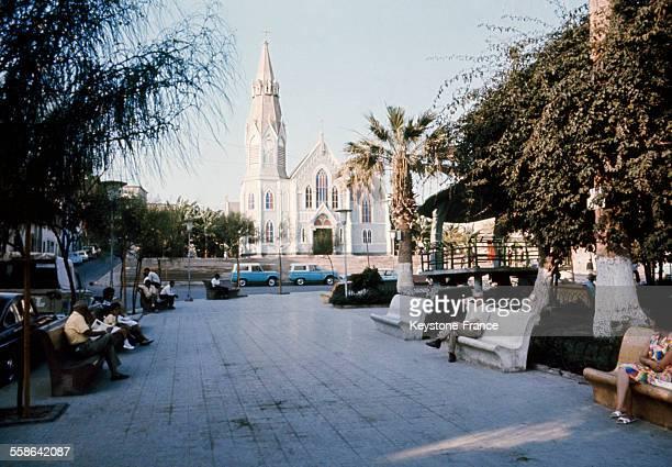 Vue de l'église San Marcos située à Arica au Chili dans les années 70 Cette église aurait été dessinée par Gustave Eiffel