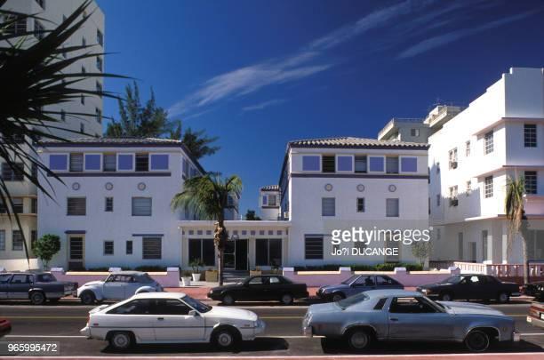 Vue d'Ocean Drive à Miami Beach, le 15 décembre 1989, en Floride, Etats-Unis.