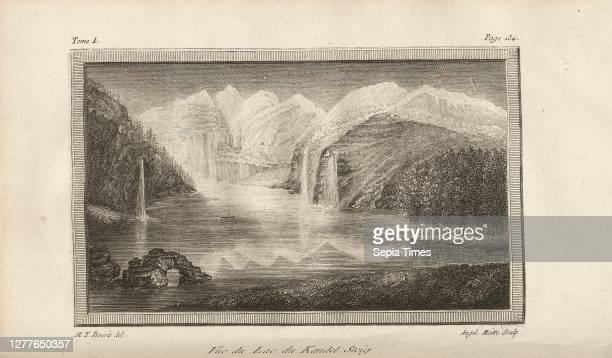 Vue du Lac du Kandel Steig, Oeschinensee above Kandersteg, Signed: M. T. Bourit, Angel., Moitte, etching, plate 4, p. 154 , Bourrit, Marc-Théodore ;...
