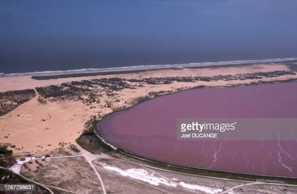 Vue du lac Rose , en octobre 1984, Sénégal.