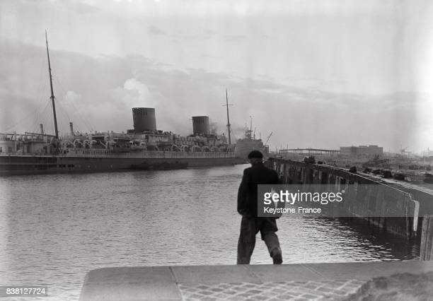 Vue du paquebot au Havre France en 1946