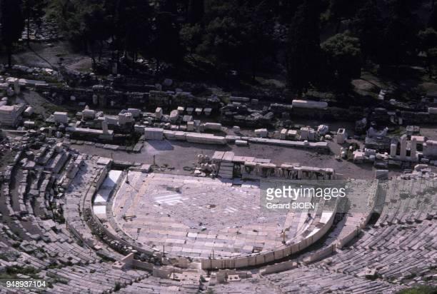 Vue du théatre de Dionysos à Athènes en Grèce en mars 1989