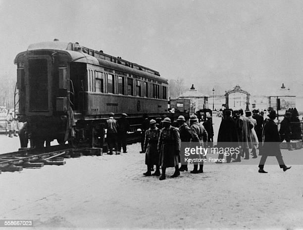Vue du wagon dans lequel fut signé l'Armistice de 1918 près de Compiègne France en 1931