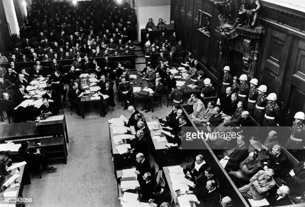 Vue générale de la salle d'audience du tribunal militaire international de Nuremberg, prise en novembre 1945 lors du procès des responsables nazis...