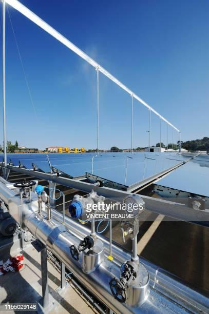 Vue prise le 26 juillet 2010 à la Seyne-sur-Mer, du prototype solaire thermodynamique du groupe CNIM inauguré ce jour. Cette installation, unique en...