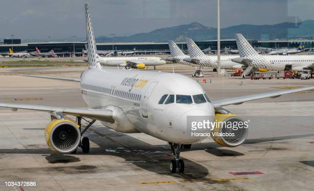 Vueling airplanes sit on the tarmac at Terminal 1 of Barcelona El Prat Airport on September 09 2018 in Barcelona Spain Barcelona El Prat Airport an...