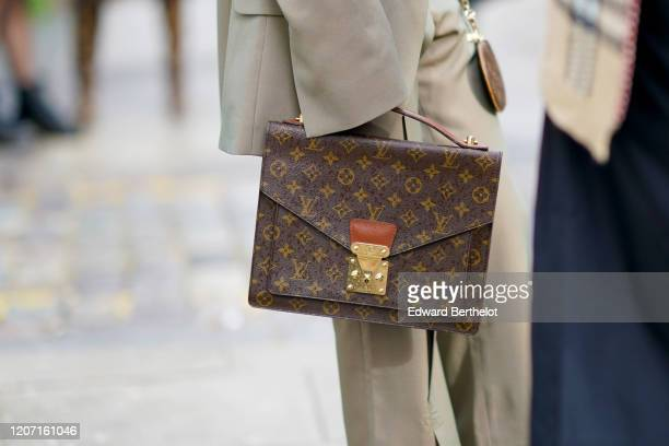 Vuitton bag is seen, during London Fashion Week February 2020 on February 17, 2020 in London, England.