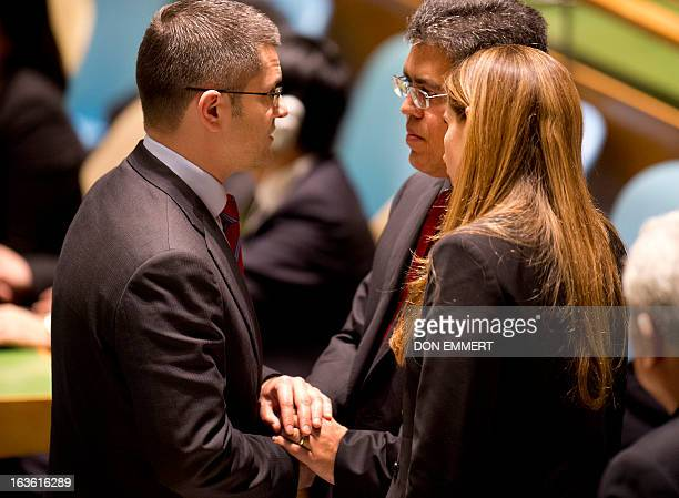 Vuk Jeremic president of the 67th Session of the UN General Assembly greets Foreign Minister of Venezuela Elias Jaua during a tribute to the memory...
