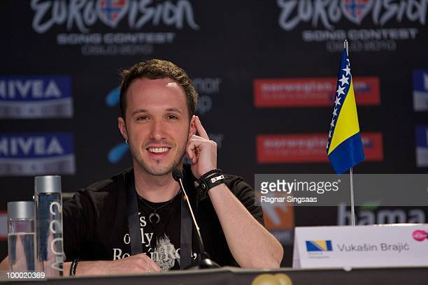 Vukasin Brajic of Bosnia Herzegovina attends a press conference at the Telenor Arena on May 20 2010 in Oslo Norway 39 countries will take part in the...
