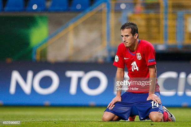 Vukasin Jovanovic of Serbia reacts during the UEFA Under19 European Championship match between U19 Germany and U19 Serbia at PerutzStadium on July 22...