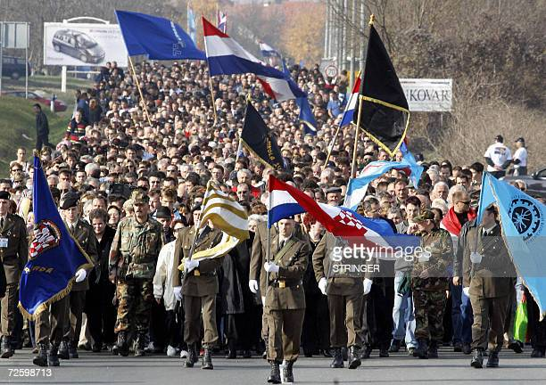 Around 25000 people gathered 18 November 2006 to commemorate the 1991 siege and fall of Vukovar a brutal episode in Croatia's 19911995 war of...