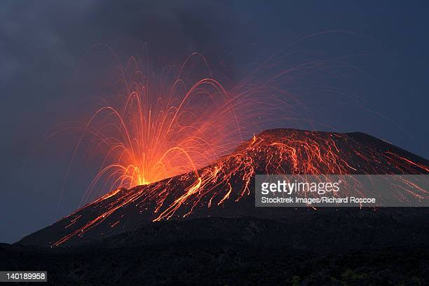 vulcanian eruption of anak krakatau volcano, sunda strait, java, indonesia. - caldera stock pictures, royalty-free photos & images