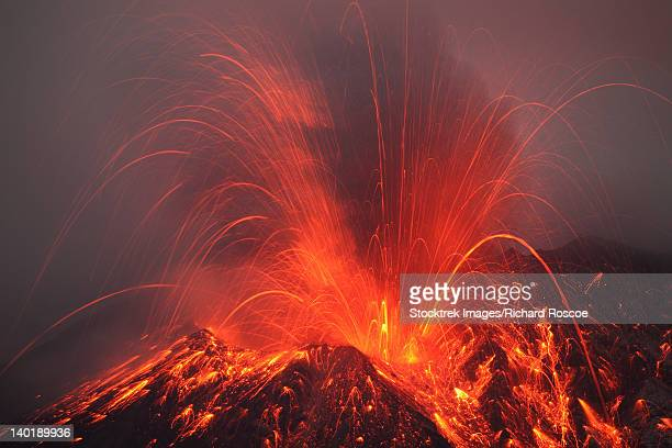 Vulcanian eruption with glowing lava bombs on Sakurajima Volcano, Japan.