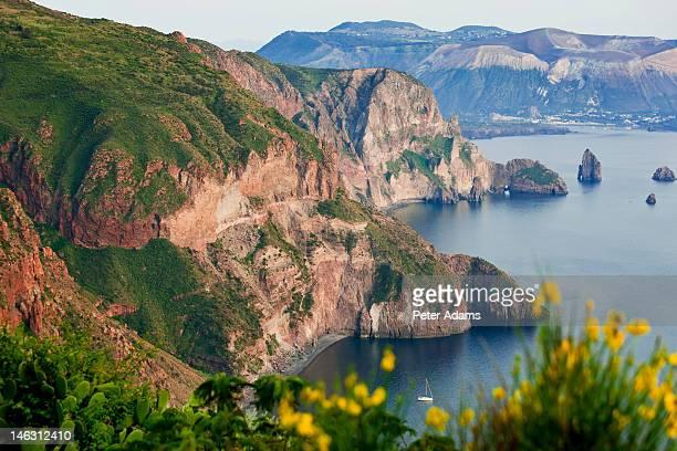 vulcano island from lipari island, sicily, italy - aeolian islands stock pictures, royalty-free photos & images