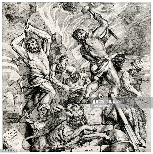 'Vulcan's Forge' 16th century Ceiling painting formerly in the town hall at Brescia Engraved by Melchior Meier of Cornelis Cort A print from Titian...