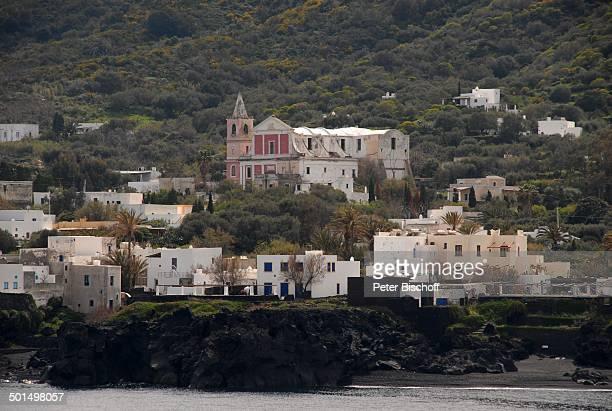 VulkanInsel Stromboli Italien Europa Küste Kirche Häuser Reise BB DIG PNr 611/2008