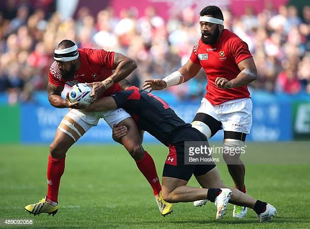 Vunga Lilo of Tonga is tackled by Merab Kvirikashvili of Georgia during the 2015 Rugby World Cup Pool C match between Tonga and Georgia at Kingsholm...