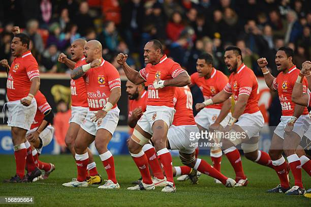 Vungakoto Lilo of Tonga leads The Sipi Tau during the international match between Scotland and Tonga at Pittodrie stadium on November 24 2012 in...