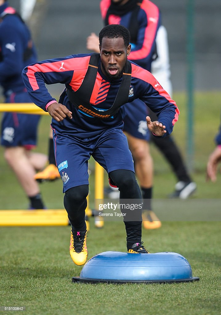 Vurnon Anita balances on a balance ball during the Newcastle United training session at The Newcastle United Training Centre on March 12, 2016, in Newcastle upon Tyne, England.