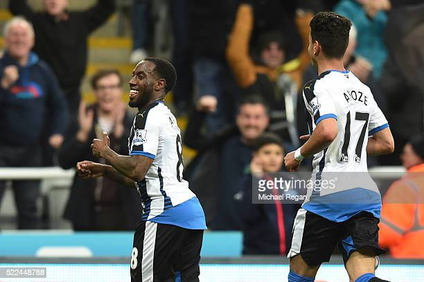 Vurnon Anita of Newcastle United celebrates after scoring a goal to level the scores at 11 during the Barclays Premier League match between Newcastle...