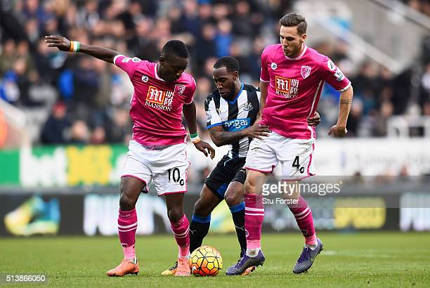 Vurnon Anita of Newcastle United competes against Max Gradel and Dan Gosling of Bournemouth during the Barclays Premier League match between...