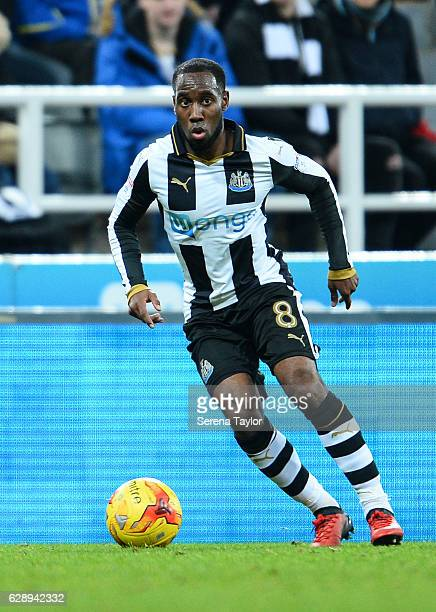 Vurnon Anita of Newcastle United looks to pass the ball during the Sky Bet Championship match between Newcastle United and Birmingham City on...