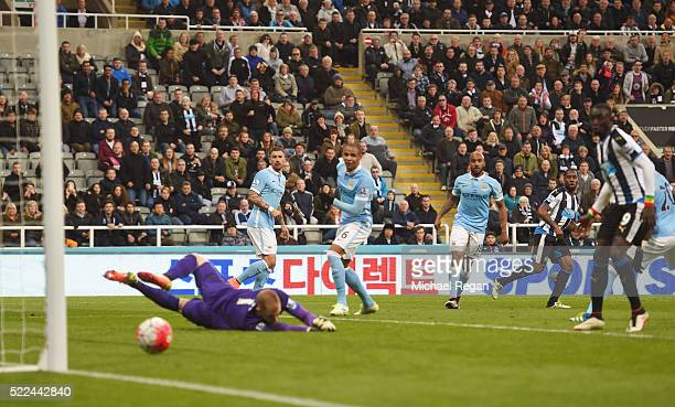 Vurnon Anita of Newcastle United scores a goal to level the scores at 11 during the Barclays Premier League match between Newcastle United and...