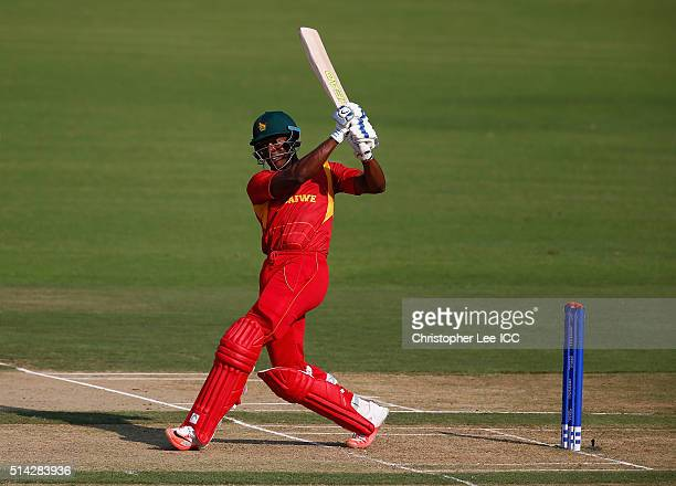 Vusumuzi Sibanda of Zimbabwe in action during the ICC Twenty20 World Cup Group B match between Zimbabwe and Hong Kong at the Vidarbha Cricket...