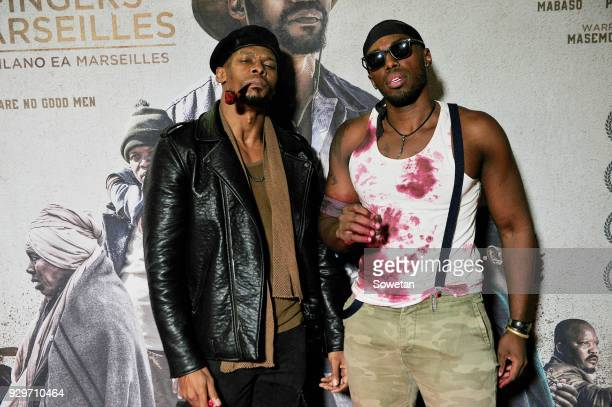 Vuyo Dabula and Sisanda Henna during Five Fingers for Marseilles movie premiere at the Market Theatre on March 08 2018 in Johannesburg South Africa...