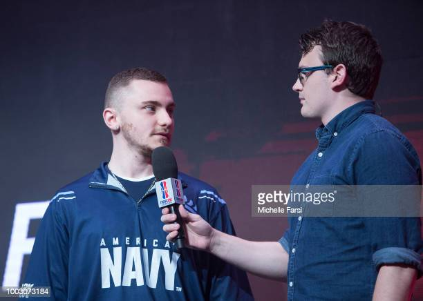 PHENOM vv of Grizz Gaming gets interviewed before the game against Mavs Gaming on July 21 2018 at the NBA 2K Studio in Long Island City New York NOTE...