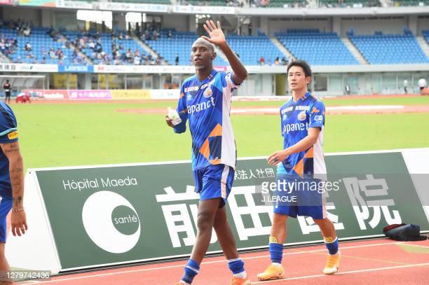 Varen Nagasaki players applaud fans after the J.League Meiji Yasuda J2 match between V-Varen Nagasaki and Renofa Yamaguchi at Transcosmos Stadium...