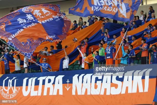 Varen Nagasaki supporters cheer prior to the JLeague J2 match between VVaren Nagasaki and Avispa Fukuoka at transcosmos Stadium Nagasaki on April 15...