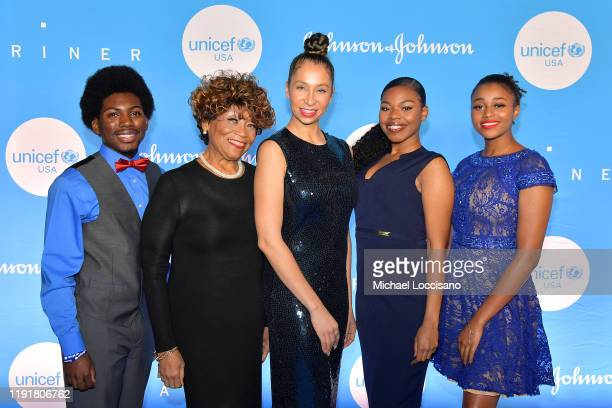 Vy Higginsen Knoelle Higginesen and members of Sing Harlem at the 15th Annual UNICEF Snowflake Ball 2019 at 60 Wall Street Atrium on December 03 2019...
