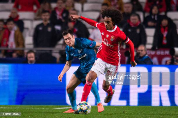 Vyacheslav Karavaev of Zenit St Petersburg and Tomas Tavares of SL Benfica battle for the ball during the UEFA Champions League group G match between...