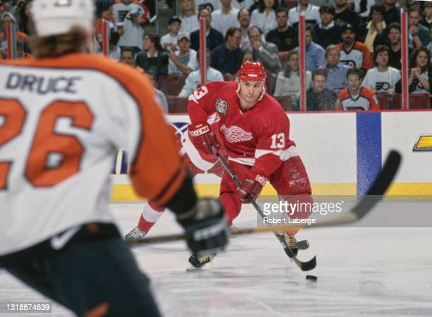 Vyacheslav Kozlov, Center for the Detroit Red Wings in motion on the ice during Game 2 of the 1997 NHL Stanley Cup Finals against the Philadelphia...