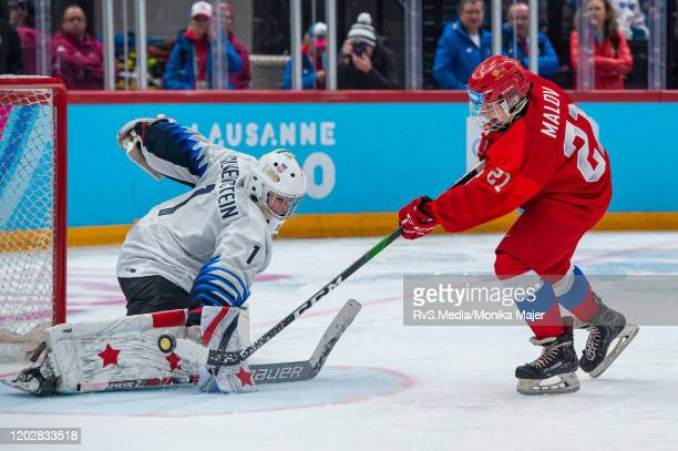 Vyacheslav Malov of Russian Federation scores a goal against Goalkeeper Dylan Silverstein of United States during Men's 6Team Tournament Gold Medal...