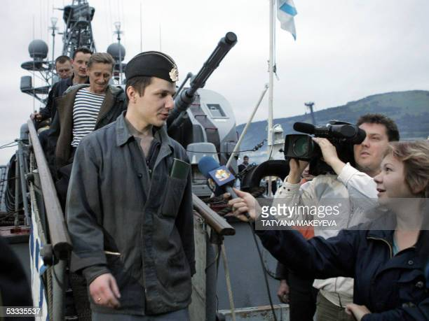 Vyacheslav Milashevsky commander of the Russian minisubmarine AS28 Priz talks to the press as he and his crew arrive at PetropavlovskKamchatsky port...