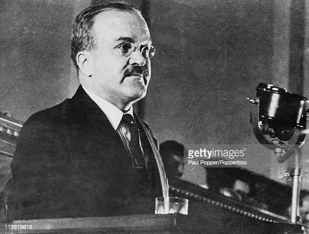 Vyacheslav Molotov the Soviet Minister of Foreign Affairs makes a speech at the Kremlin in Moscow circa 1940