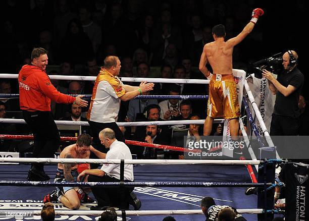 Vyacheslav Senchenko of Ukraine celebrates after stopping Ricky Hatton of Great Britain during their welterweight bout at MEN Arena on November 24...