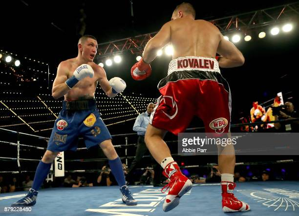 Vyacheslav Shabranskyy and Sergey Kovalev fight during their Light Heavyweight at The Theater at Madison Square Garden on November 25 2017 in New...